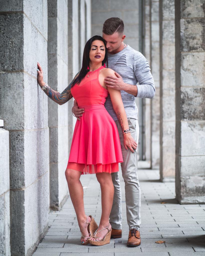 Paarshooting Leipzig Fotograf rotes Kleid